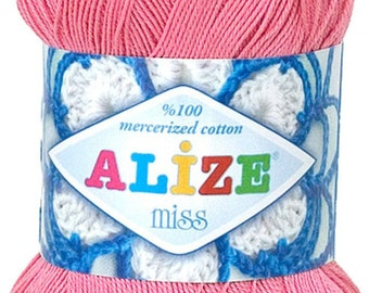 Alize Miss crochet thread size 10, 100% mercerized cotton, #264 pink