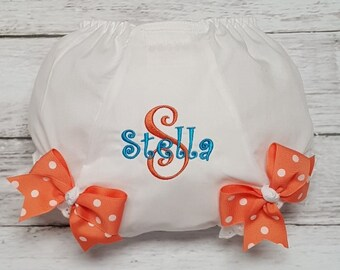 TEAL and CORAL Personalized Name and Initial Diaper Cover Bloomers