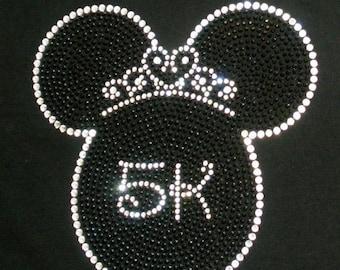 "6.8"" Princess Tiara Minnie Mouse 5K Run iron on rhinestone BLING transfer for shirt"