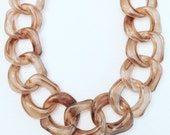 Amelia Large Marled Taupe Resin Chain with Gold Clasp