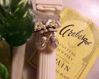 Vintage ARABESQUE Damascene Earrings Gold Plate Ultra Feminine Pearl Drops