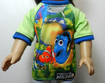 BK Finding Nemo Shirt with Shiny Vinyl Accent Characters and Raglan Sleeves - 18 Inch Doll Clothes fits American Girl