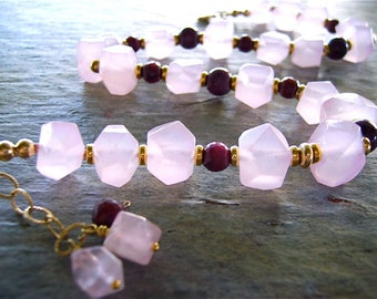 Rose Quartz and Ruby Bead Necklace - 14K Gold Filled Beads - Rosy Pink and Ruby Red