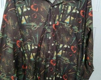 Superb 1970s photo shirt polyester disco vintage men's bohemian bamboo xl Pierre Le Grande