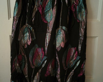 floral skirt metallic 1980s glam Prophecy boho women size 10 shiny
