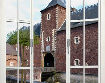 Wall mural french door, self adhesive, Hoenbroek Castle view, Holland 48x72- free US shipping