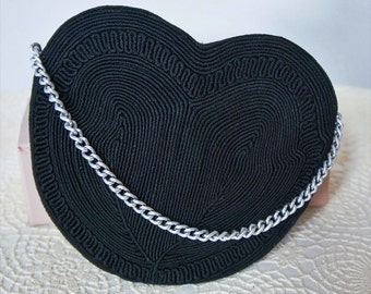 1940's Corde Purse Black Heart Shaped Small Handbag Pouch Black Clutch