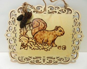 Wall Hanging Squirrel Pyrography