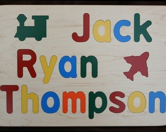 Wooden Name Puzzle for Three Names - Custom Personalized - Birthday Gift - Raised Wood Letters - Educational Toy - 3 Names Puzzle