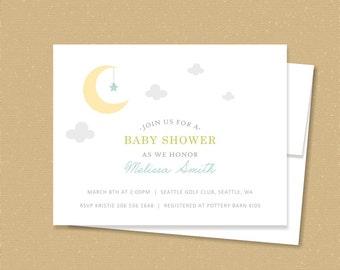 moon + star // baby shower invitation set // baby announcement // birthday invitation // modern invite // stars // twinkle