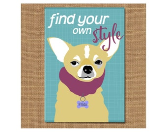 Chihuahua Magnet Graduation Magnet, Dog Fridge Magnet, Dog Lover Gift, Fashion Lover, Graduation Gift, Pet Lover Gift, Fashion Magnet