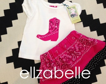 Pink Bandana Skirt Set Custom Sizes 12m, 2T, 3T, 4T, 5T with Cowboy Boot Applique Shirt