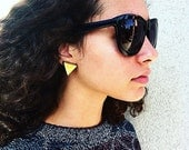 Vintage clip on yellow triangle earrings
