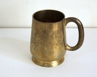 Brass Tankard, Mug, Floral Design, Vintage Brass