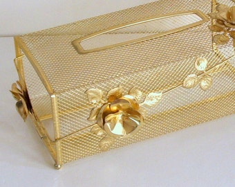 Vintage Tissue Box Cover, Gold Tone Mesh with Roses, Vanity Decor