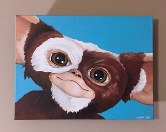 "Original 9"" x 12"" ""Mogwai"" Gizmo Gremlins Oil and Acrylic Painting"