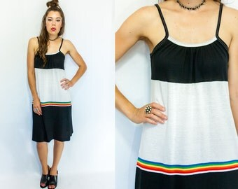SALE...70's Comfy Rainbow Striped ATHLEISURE Tank Top Sun Dress vtg Black and White Stipe Midi Sundress