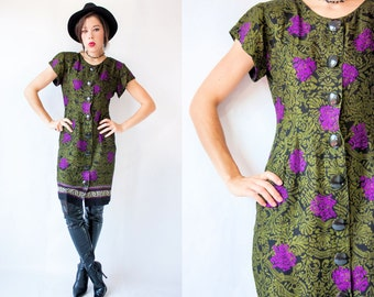 Vintage 80's DAMASK PRINT Strong Shoulder Flutter Sleeve Dress with Huge Buttons
