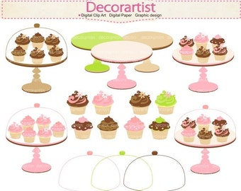 ON SALE clipart, Digital clipart,cupcake clipart,cupcakes cakestand, tea party clipart, cupcake, sweet, INSTANT Download
