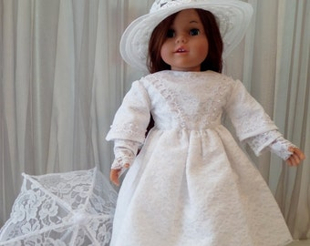 18 Inch Doll Clothes / Doll Dress,  Hat, Petticoat, Pantaloons, Parasol, Fingerless Lace Gloves, Shoes And Socks / American Girl Doll  –1003
