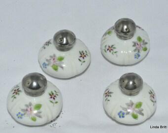 Porcelain Salt and Pepper Shakers - Hand painted Floral Design