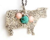 Have a Cow Charm Necklace, Turquoise and Shell, Cowgirl Jewelry, Sterling Silver Necklace, Flower Textured Cow