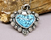Heart Necklace, Spiderweb Turquoise Pendant, Real Turquoise Jewelry, Valentines Gift for her, Western Jewelry
