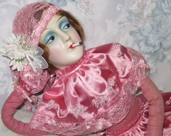 Vintage 1920 Flapper Girl Authentic Boudoir Bed Doll anita type Katie