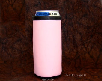 Womens Gift - Michelob Ultra Beer Can Insulator - Pink Slim Line Tall Boy - Beverage Holder - Leather Beer Holder - Cowhide Beer Holder