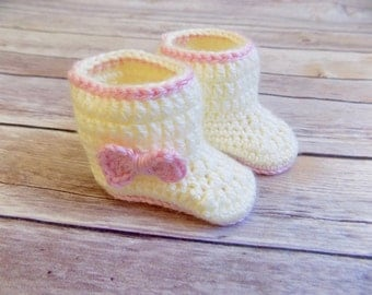 Baby Boots, Crochet Baby Booties, Knit Baby Shoes, Off White Pink Bows