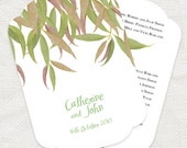 gum leaf wedding ceremony program fan - diy printable file - order of service woodland forest green bush australian summer national park
