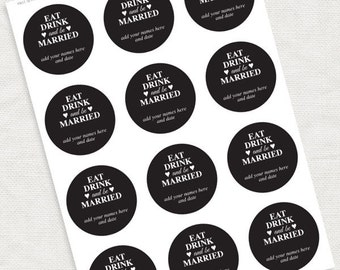 eat drink and be married wedding favor tags - download - diy black, printable stickers, custom decorations gift tags thank you circles round
