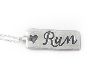 Unique silver Running Necklace - Marathon Necklace jewelry for runners