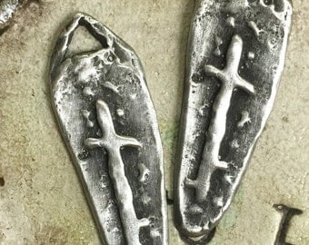 Cross Pewter Charm Pendant Handcasted jewelry components earring supplies Dagger Religious 2 pcs Charms Pendants