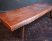 Antique Primitive Natural Wooden Bench Seat