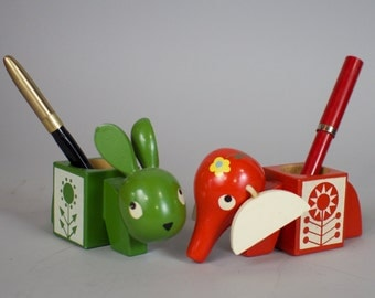 Adorable Vintage Wood Pencil Holders / Elephant and Rabbit