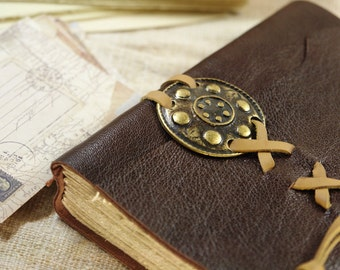 medieval journal notebook in dark chocolate brown leather