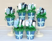 Baby Boy Shower Flower Centerpieces, Baby Shower Decorations, Unique Baby Shower Centerpieces, Boy Baby Shower Decor Ideas, Baby Clothes