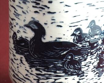 Unique Ceramic Art Jar - Lidded Jar - Ceramic Jar -Cookie Jar - Pottery Container - Sgraffito Carved Jar - Black and White - Ducklings Jar
