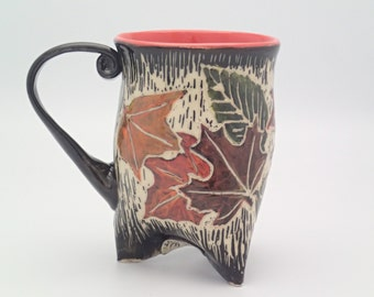 Handbuilt Ceramic Tripod Coffee Mug - Handmade Pottery Mug - Sgraffito Mug - Trifoot Mug - Coffee Mug - Tea Cup - Autumn Colors