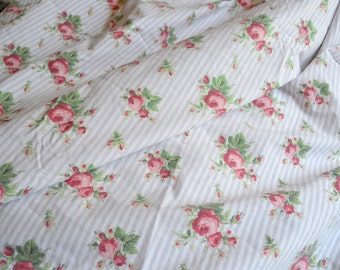 Ralph Lauren Bed Sheet - Sophie Brooke Pink Roses on Tan Stripe - Twin Fitted