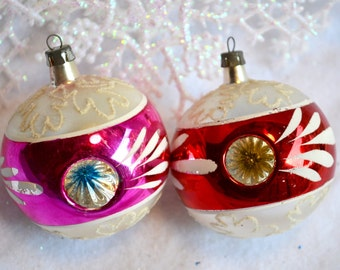 Vintage Mercury Glass Ornaments - Triple Indents In Pink and Red