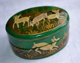 Vintage Paper Mache Trinket Jewelry Box - Meadow Deer