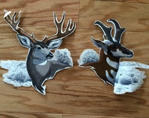 Vintage Deer Applique Fabric - 10 Point Buck Fabric - For Applique Crafting - Sewing Fabric Supply - Crafting Supply - Applique Fabric