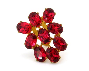 Art Deco Rhinestone Dress Clip | Raspberry Red Glass Brooch | Vintage 1930s Jewelry