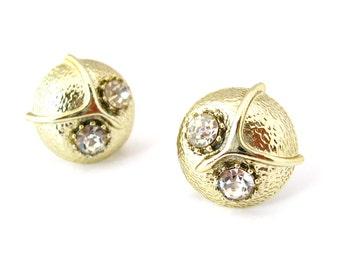 Vintage Owl Earrings | Clear Rhinestone Bird Figural Clip On | Vintage 1960s Jewelry