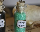 ON SALE Glass Vial Necklace - Frog's Breath - Halloween Jewelry