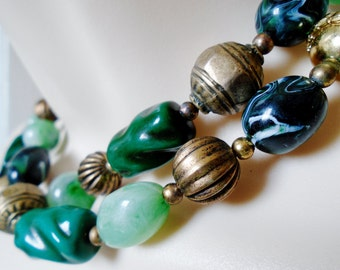 "Vintage Brass And Glass Beads Baroque Marbled Pleated Abstract St Patrick Multi Shades Of Green 31"" Long Retro Art Deco Runway Statement"