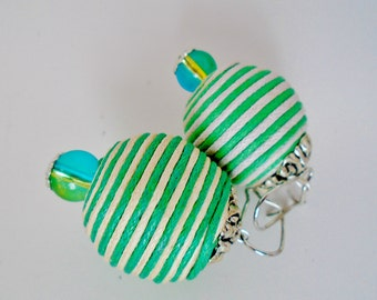 Linen Wrapped Large Bead AB Rainbow Art Glass Silver Plate Tone Pierced Dangle Earrings Art Deco Retro Modernist Mod Pop Art Antique Green