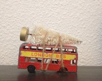 london double decker red bus metal toy vintage 1970s christmas tree mantel display